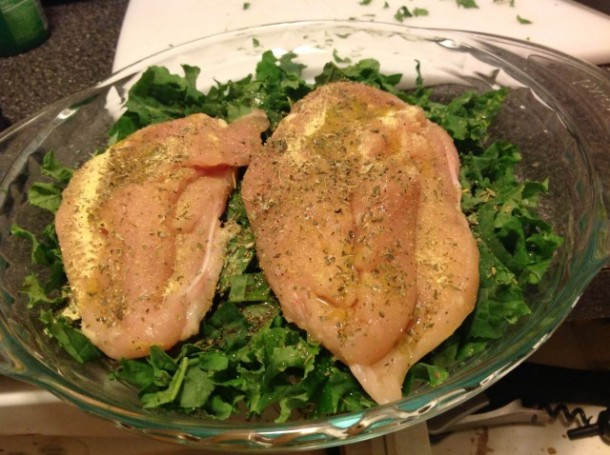 Raw chicken and kale