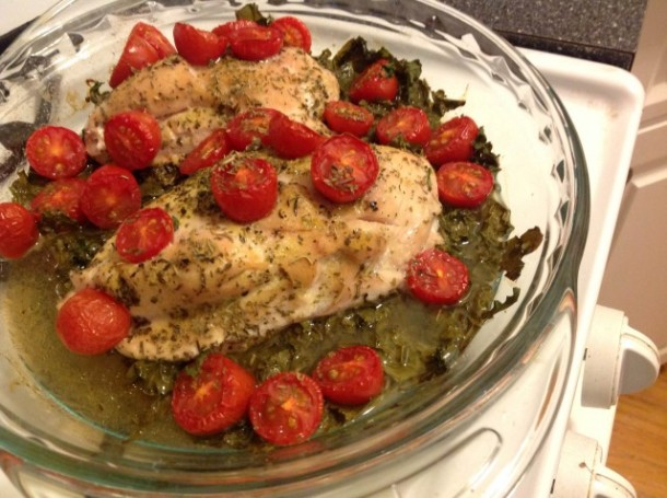 Citrus Kale Baked chicken