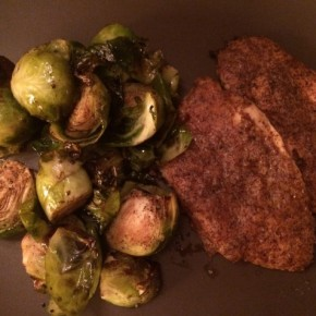 Dijon Chicken with Roasted Balsamic Brussels Sprouts
