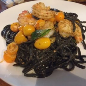 Squid Ink Pasta with Fiery Shrimp